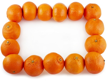 Border frame of orange tangerines on white photo