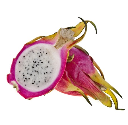 Pitahaya dragon fruits isolated on white background photo