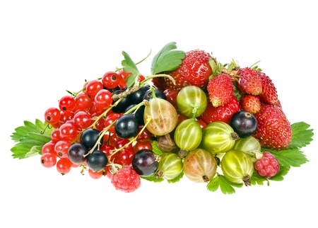 Heap pile of fresh garden berries isolated on white photo