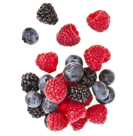 Blackberries   dewberries , blueberries , raspberries on white background Stock Photo