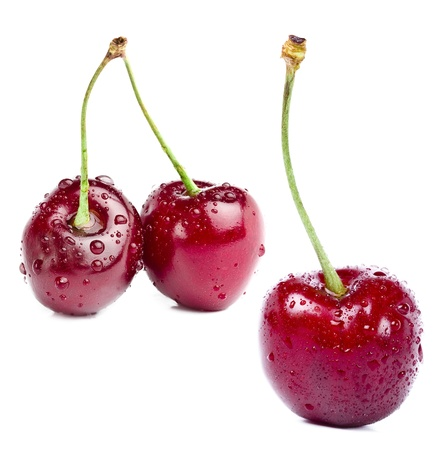 cherry love close up macro isolated on white background