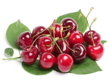 sappy: Juicy cherries isolated on white background Stock Photo