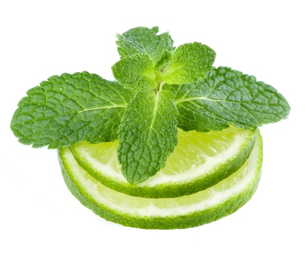 fresh lime with leaf mint isolated on white photo