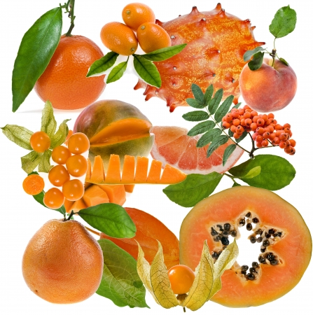 carroty: all orange color   berries, fruits and vegetables close up isolated on white background