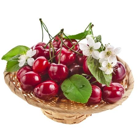 cesta de frutas: Cerezas dulces con flores en la cesta aislada en el fondo blanco