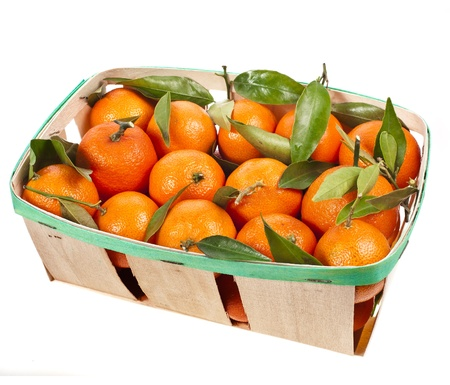 mandarins box isolated on white photo