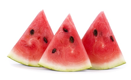 water melon: slice of watermelon, close up isolated on white background