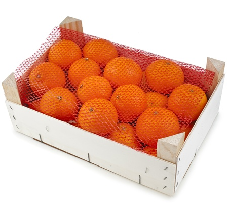 orange mandarins in wooden crate box isolated on white photo