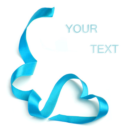 romantic heart: Blue heart ribbon bow isolated on white background Stock Photo