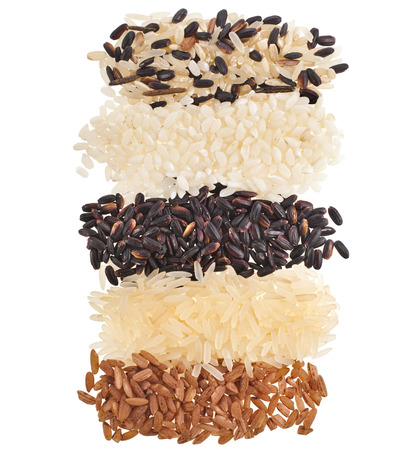 Mixed Rice top view surface close up Macro Texture isolated on white background photo