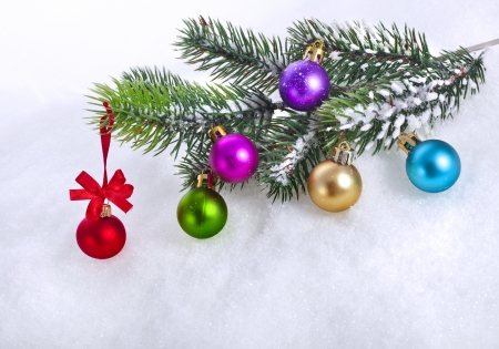 christmas snow background with colorful balls and fir branch, copy space for your text photo