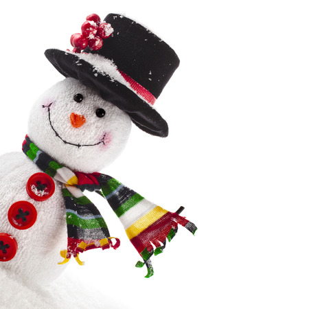 hat new year happy new year festive: Cheerful Christmas snowman with scarf, Border Card with copy space, isolated on white background Stock Photo