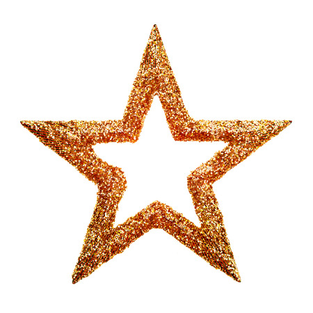 Gold star for Christmas frame isolated on white background photo