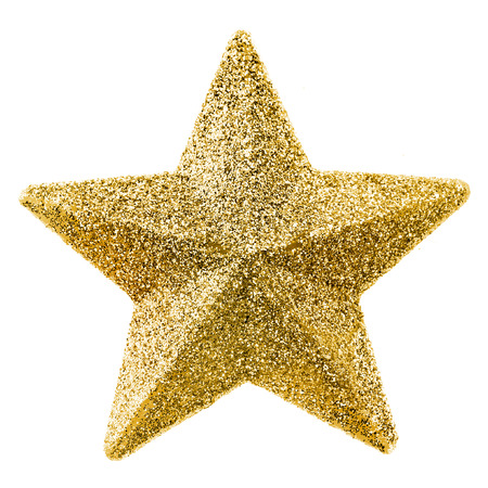 twinkling: Golden Christmas star isolated on white background Stock Photo