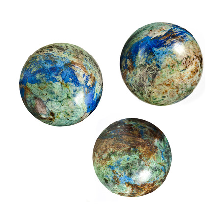 malachite: stone globes balls isolated on white background