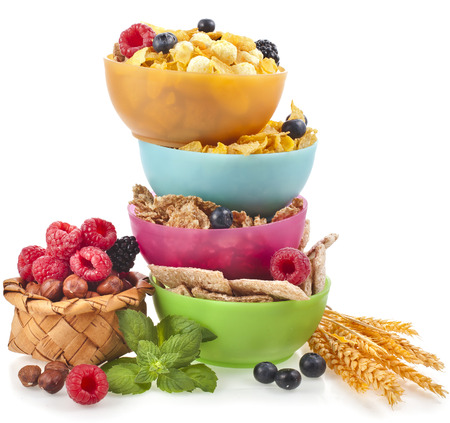 nutritionist: Diet weight loss breakfast concept, tower stack isolated on a white background