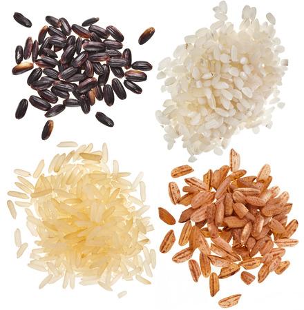 Conjunto de arroz montón pila cerca aisladas sobre un fondo blanco Foto de archivo - 22352690