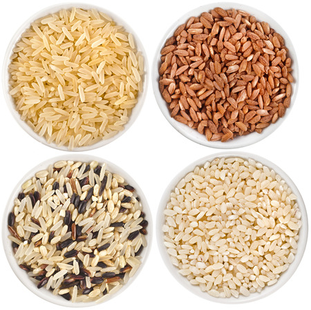 collection set of rice heap in bowl top view surface close up isolated on white background photo