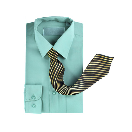 Men s shirt and striped neck tie isolated on white background photo