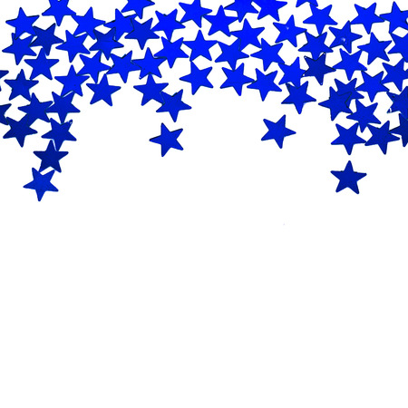 Glitter blue stars ornaments border isolated on white background photo