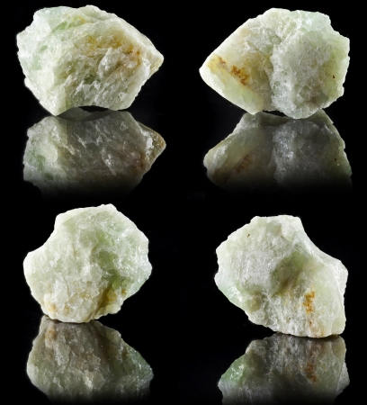 lapidary: Collection set of Aquamarine in rock stone with reflection on black surface background