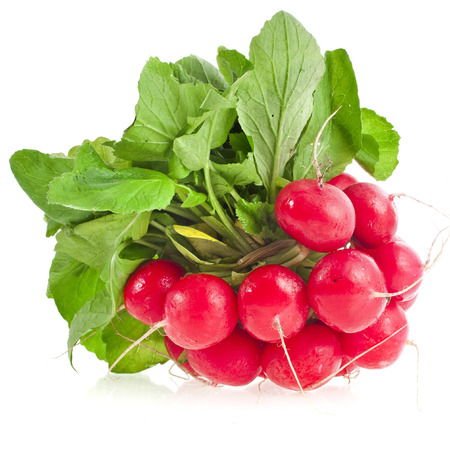 fruity salad: Fresh red radish isolated on white