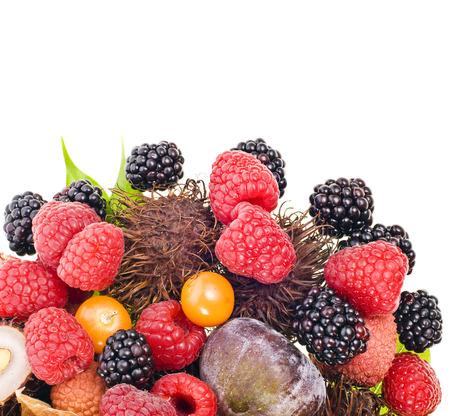 litschi: multifruit isolated on white background