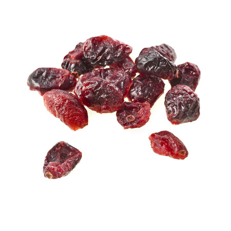 dried cranberry isolated on white, close up shot photo
