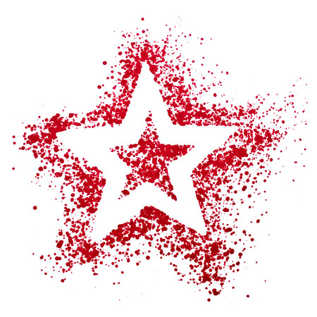 Blank Red Star drawing air color pen isolated on white background Stock Photo - 22889337