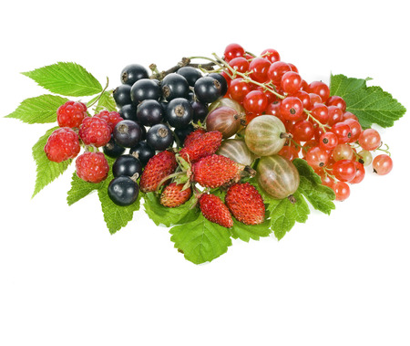 mixed fruits: Heap pile of ripe berries isolated on white