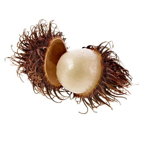 rambutan: Exotic rambutan fruit on white background Stock Photo