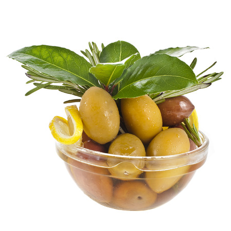 kalamata: big color olives in glass dish isolated over white background