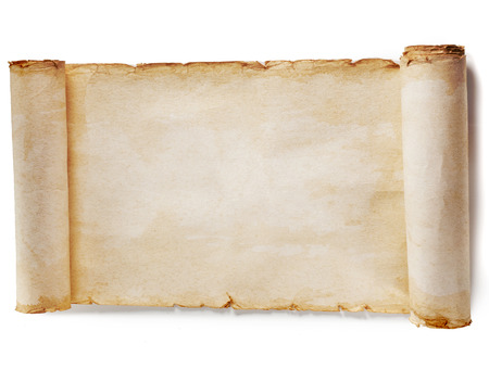 scroll border: vintage paper blank surface isolated on a white background Stock Photo