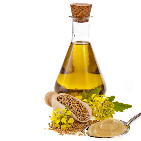 rapaseed: Mustard oil jar and powder spoon, seeds scoop with fresh mustard flower isolated on white background