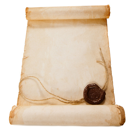 torah: old scroll paper with a wax seal isolated on a white background