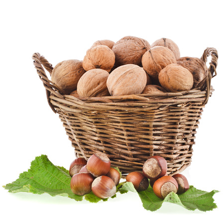 walnuts and hazelnut filbert in basket isolated on white background photo