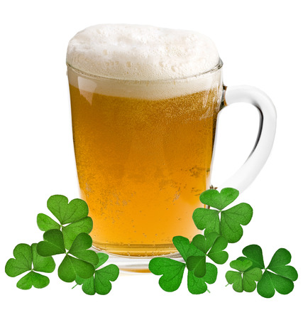 Shamrock clover and beer - - symbol of holiday St Patrick s Day photo