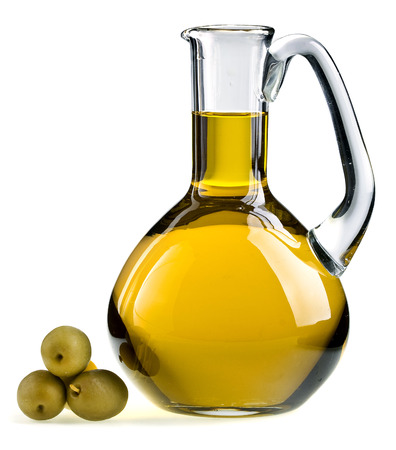 oilcan: decanter with olive oil isolated on white background Stock Photo