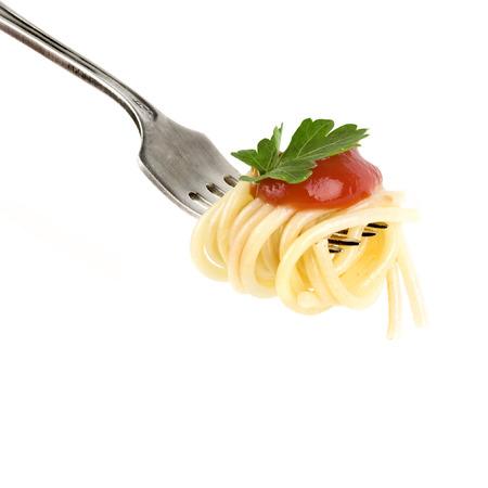 pasta fork: pasta on fork isolated on white