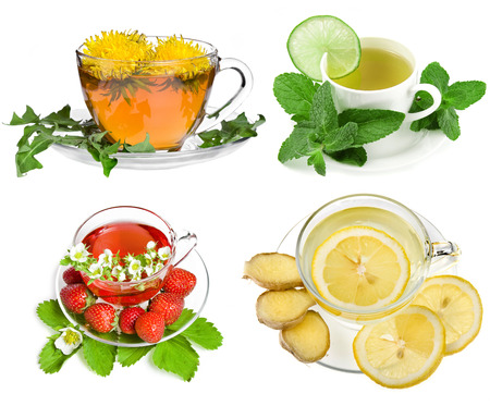 Herbal and fruit teas,Collection set isolated on white background photo