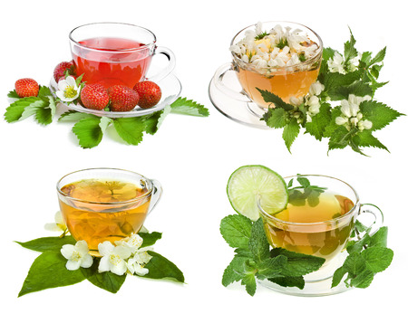 Herbal and fruit teas  Collection set isolated on white background photo