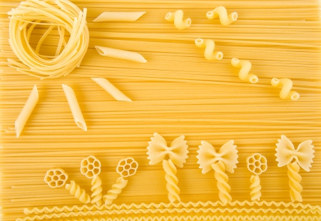 abstract solar picture of Italian pasta surface close up top view