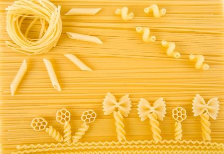 astratta immagine solare di superficie della pasta italiana vista da vicino top Archivio Fotografico