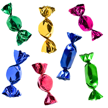 foil: colorful candies set isolated on white background