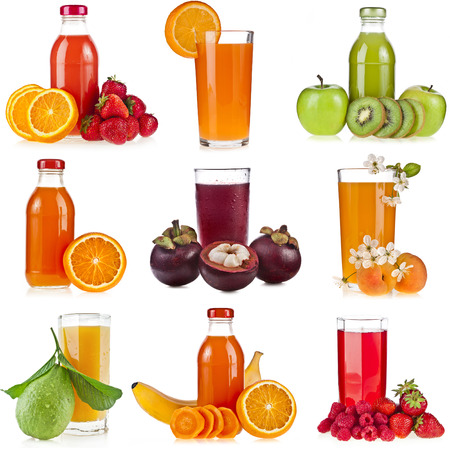 Collection set of Bottles glass juice of fresh berries and fruits isolated on white background photo