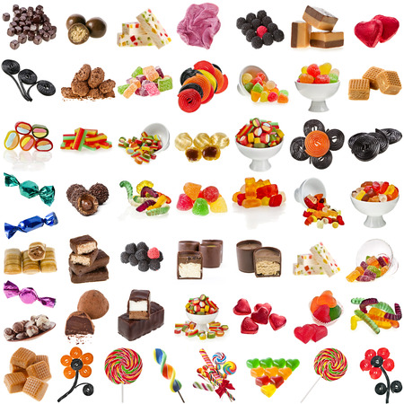 candy background: Various Candies Collection isolated on white background Stock Photo