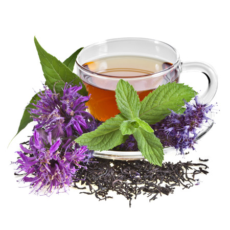 chai: Glass Cup Tea with Mint Leaf and aromatic herb flower, Isolated on White Background