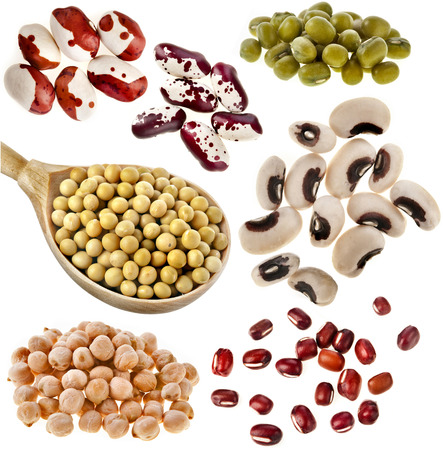 protein crops: Various dried legumes haricot beans, Close up Collection isolated on white background Stock Photo
