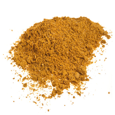 curcumin: Close-up heap of curry powder spice isolated on white background Stock Photo