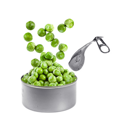 opener: canned green peas jumping out of a tin Isolated on white Stock Photo